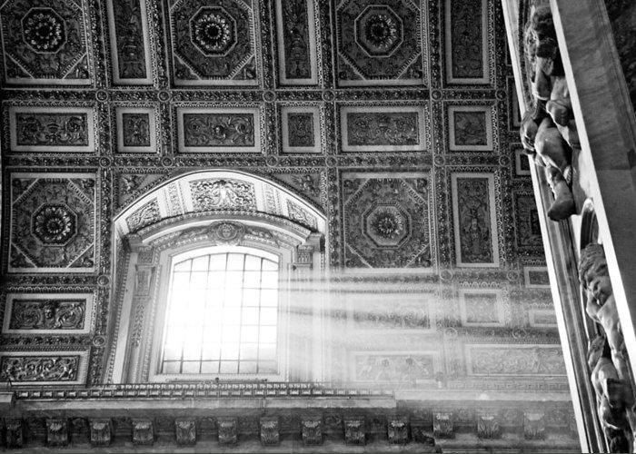 Light Greeting Card featuring the photograph Light Beams In St. Peter's Basillica by Susan Schmitz
