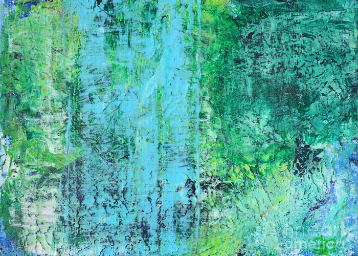 Abstract Painting Paintings Greeting Card featuring the painting Light Blue Green Abstract Explore By Chakramoon by Belinda Capol