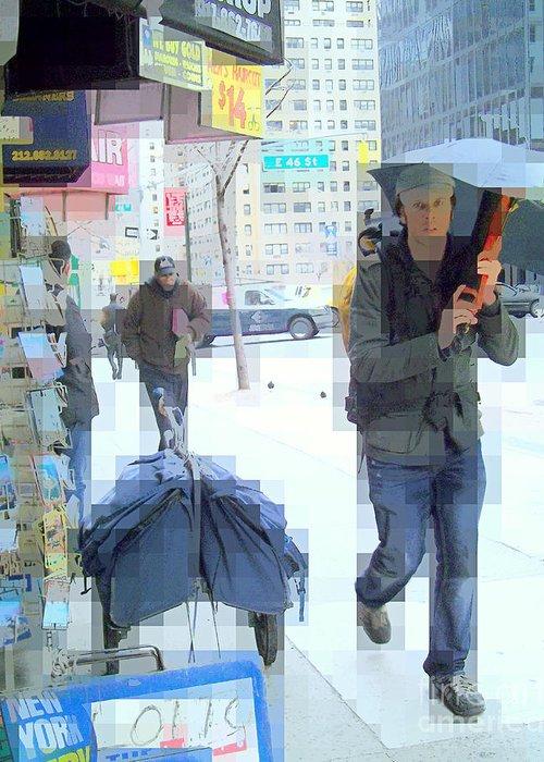 Advertising Greeting Card featuring the photograph Light Blue Light Rain by Miriam Danar
