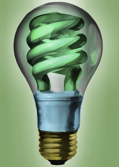 Light Greeting Card featuring the painting Light Bulb by Bob Orsillo