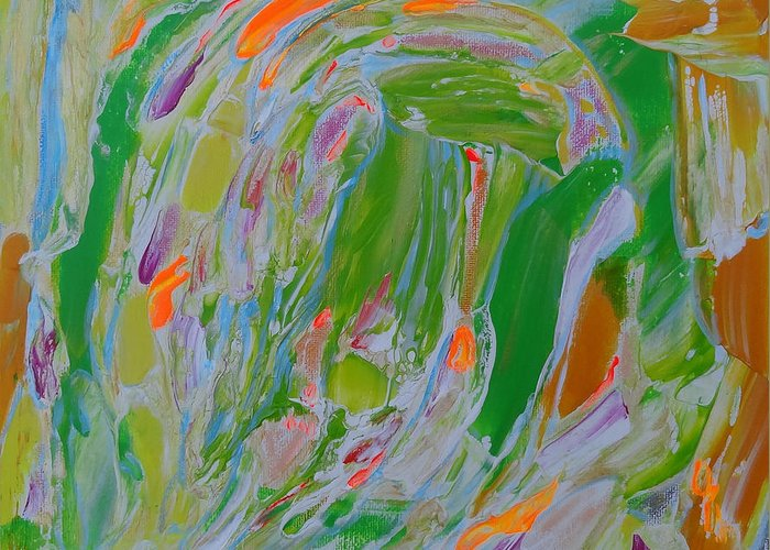 Abstract Painting Greeting Card featuring the painting Light In The Spring Garden. by Agnieszka Praxmayer