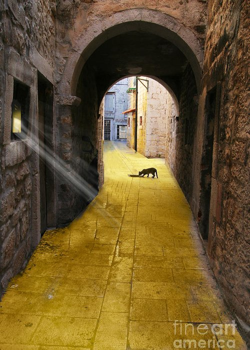 Buildings Greeting Card featuring the digital art Light In The Tunnel by Angelika Drake
