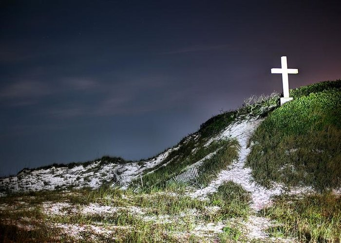 The Cross On Pensacola Beach Greeting Card featuring the photograph Light My Way by JC Findley