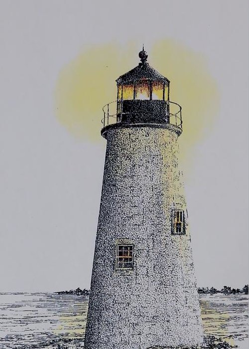 New England Lighthouse Seascape Landscape Pen & Ink Watercolor Coastline Connecticut Greeting Card featuring the painting Light On The Sound by Tony Ruggiero