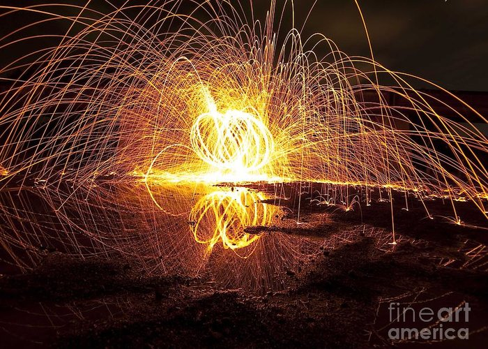 Light Painting Reflections Greeting Card featuring the photograph lIGHT PAINTING by Andrew Kinghan