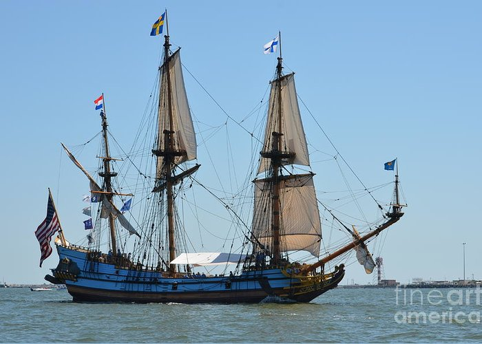 Tall Ship Greeting Card featuring the photograph Light Sails by Brenda Dorman