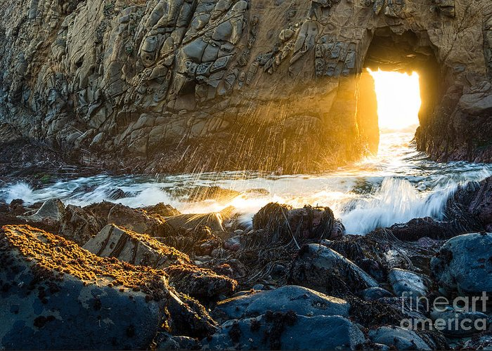 Arch Rock Greeting Card featuring the photograph Light The Way - Arch Rock In Pfeiffer Beach In Big Sur. by Jamie Pham