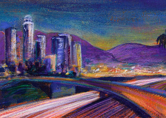 Downtown Greeting Card featuring the painting Light Up The Night by Athena Mantle