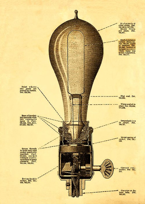 Lightbulb Patent Greeting Card featuring the photograph Lightbulb Patent by Digital Reproductions