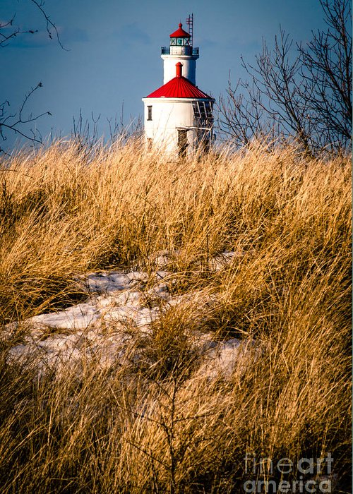 Wisconsin Greeting Card featuring the photograph Lighthouse Amongst The Tall Grass by Mark David Zahn Photography