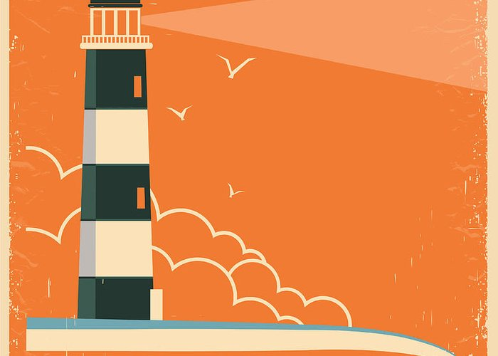 Sky Greeting Card featuring the digital art Lighthouse And Sky On Old Poster by Tancha