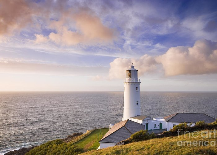 Lighthouse Greeting Card featuring the photograph Lighthouse At Sunset by Derek Croucher