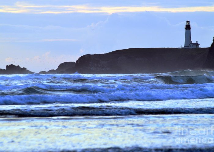 Lighthouse Greeting Card featuring the photograph Lighthouse Blues by Sheldon Blackwell