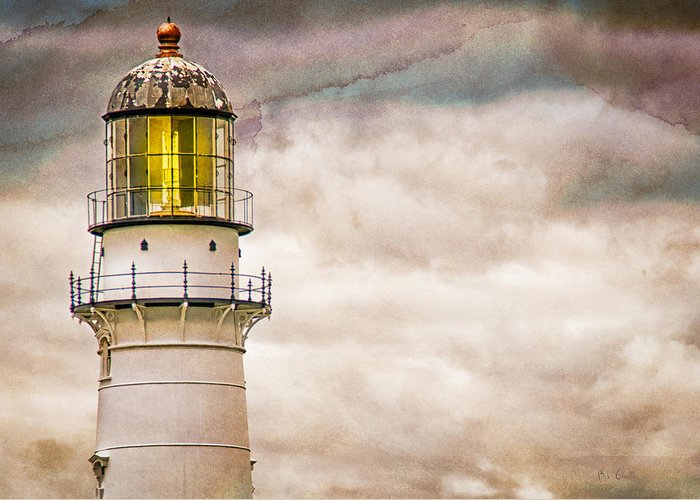 Lighthouse Greeting Card featuring the photograph Lighthouse Cape Elizabeth Maine by Bob Orsillo