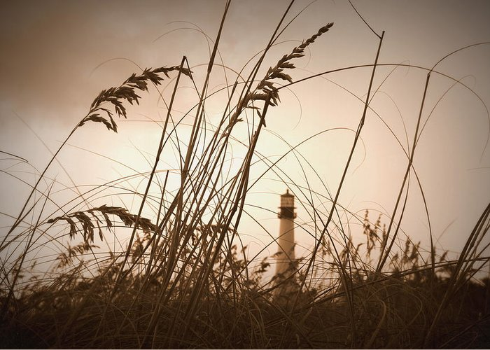 Lighthouse Greeting Card featuring the photograph Lighthouse In The Distance Inn Sepia by Laurie Perry