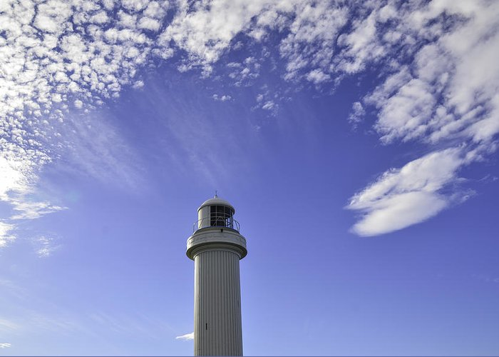 Lighthouse Greeting Card featuring the photograph Lighthouse In The Sky by Jason Hughes