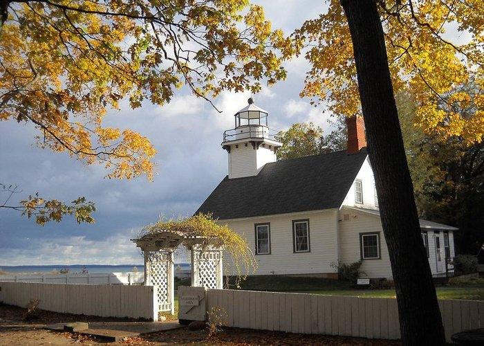Lighthouse Greeting Card featuring the photograph Old Mission Point by Jim McGraw