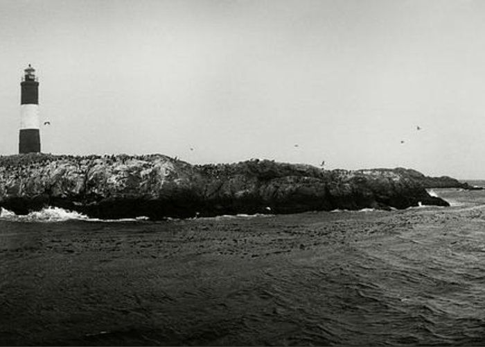 Photography Greeting Card featuring the photograph Lighthouse On Small Island In Sea, Les by Panoramic Images