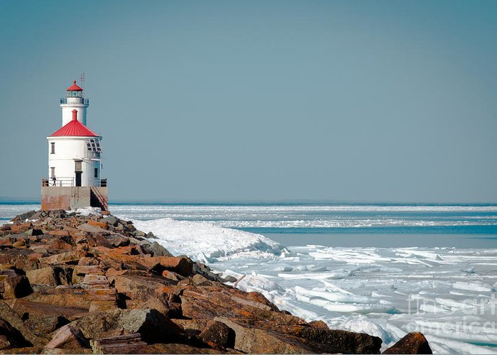 Wisconsin Greeting Card featuring the photograph Lighthouse On Stone And Ice by Ever-Curious Photography
