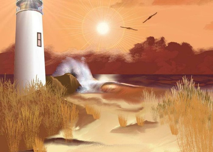 Lighthouse Greeting Card featuring the digital art Lighthouse On The Coast by Edmond Hogge