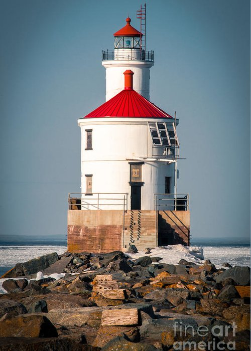 Wisconsin Point Greeting Card featuring the photograph Lighthouse On The Rocks by Ever-Curious Photography