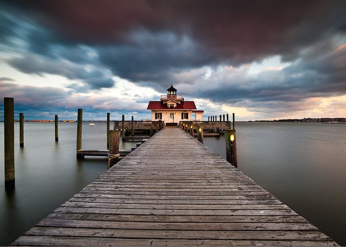 Roanoke Marshes Lighthouse Greeting Card featuring the photograph Lighthouse - Outer Banks Nc Manteo Lighthouse Roanoke Marshes by Dave Allen