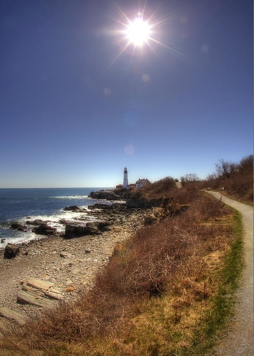 Atlantic Ocean Greeting Card featuring the photograph Lighthouse Path by Joann Vitali