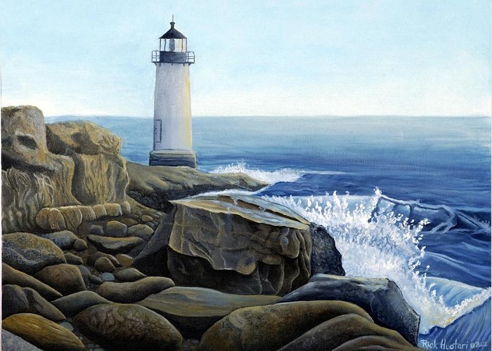 Rick Huotari Greeting Card featuring the painting Lighthouse by Rick Huotari