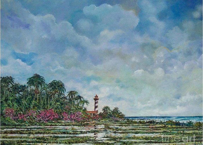 Nature Greeting Card featuring the painting Lighthouse by Sinisa Saratlic