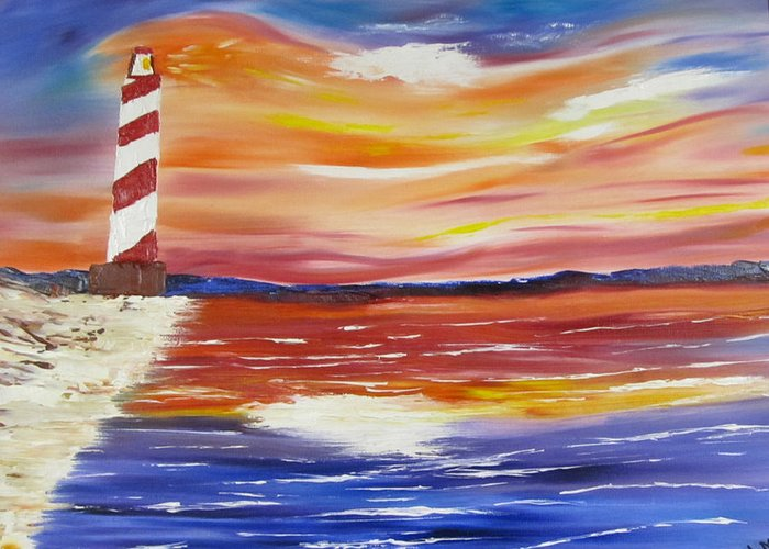 Seascape Greeting Card featuring the painting Lighthouse Sunset by Larry Marano