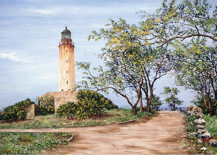 Caribbean Greeting Card featuring the painting Lighthouse by Victor Collector