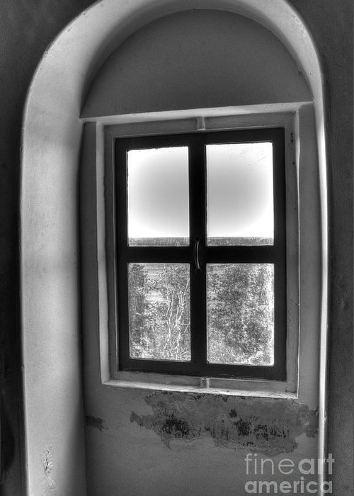 Window Greeting Card featuring the photograph Lighthouse Window At Point Iroquois by Twenty Two North Photography