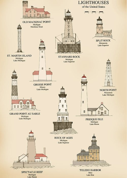 Lighthouse Greeting Card featuring the drawing Lighthouses Of The Great Lakes by Jerry McElroy