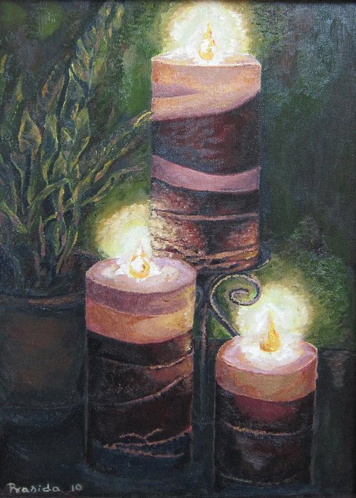 Candles Greeting Card featuring the painting Lighting The Dark Corners by Prasida Yerra