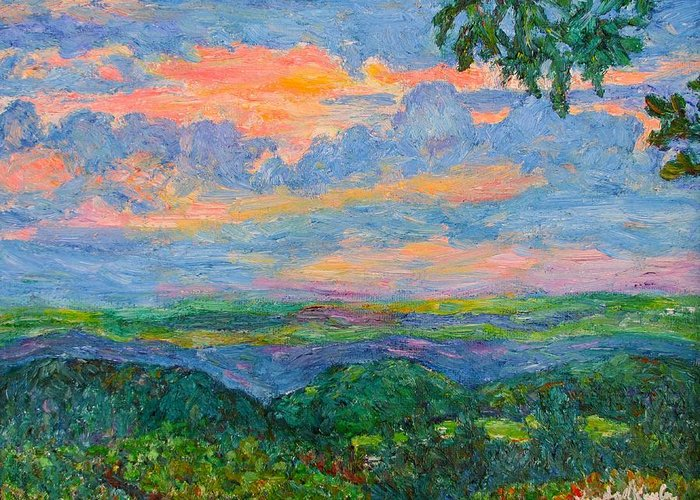 Mountains Greeting Card featuring the painting Lighting The Ridge by Kendall Kessler
