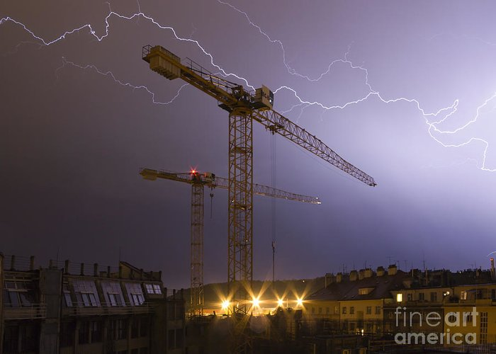 Storm Greeting Card featuring the photograph Lightings Above City by Michal Boubin