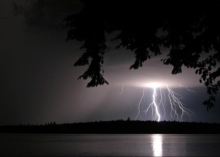 Lightning Greeting Card featuring the photograph Lightning At Night by Barbara West