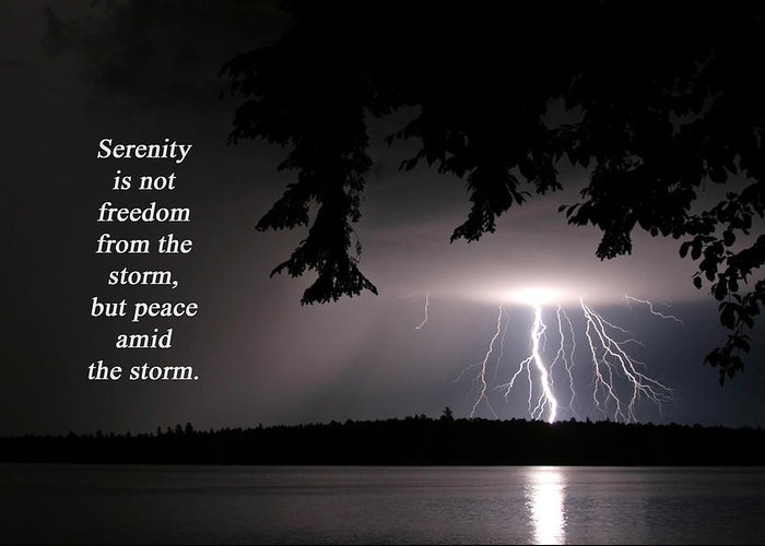Lightning Greeting Card featuring the photograph Lightning At Night - Inspirational Quote by Barbara West