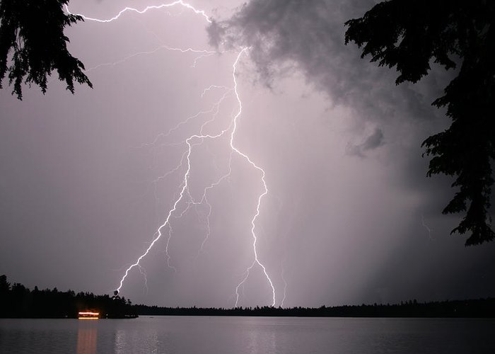 Lightning Greeting Card featuring the photograph Lightning At The Lake by Barbara West