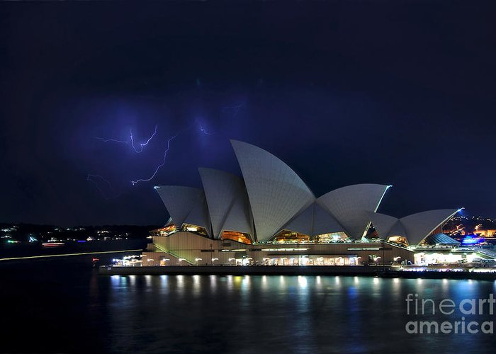 Photography Greeting Card featuring the photograph Lightning Behind The Opera House by Kaye Menner