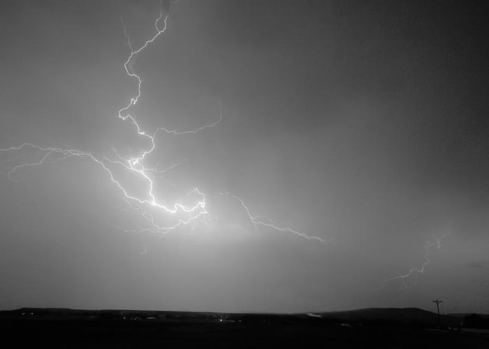Lightning Greeting Card featuring the photograph Lightning Goes Boom In The Middle Of The Night Bw by James BO Insogna