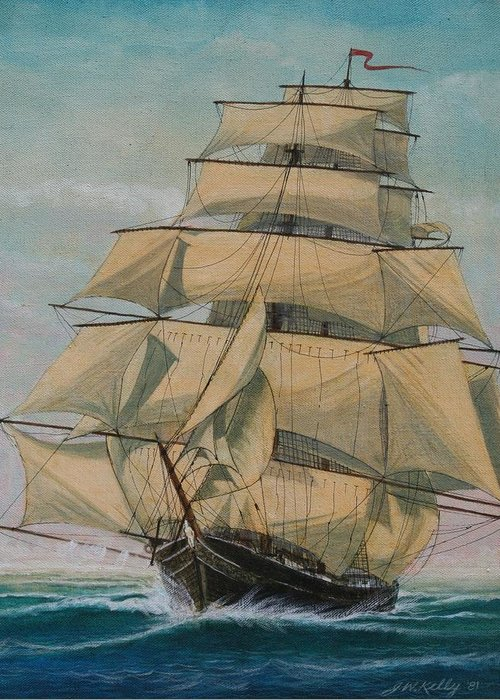 Seascape Of Old Time Sailing Ship Greeting Card featuring the painting Lightning by J W Kelly