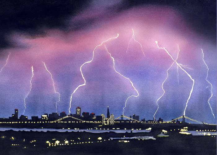 Bay Bridge Greeting Card featuring the painting Lightning On The Bay Bridge by Janaka Ruiz