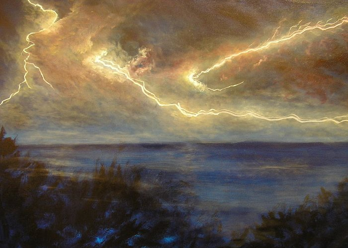Lightning Greeting Card featuring the photograph Lightning Storm by Affordable Art Halsey