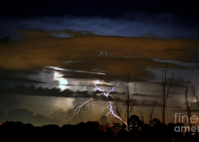 Lightning Greeting Card featuring the photograph Lightning Storm by Paul Wilford