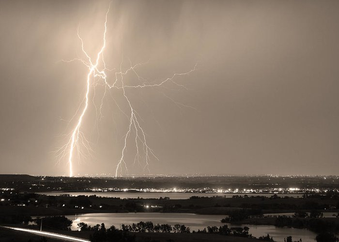Lightning Greeting Card featuring the photograph Lightning Strike Boulder Reservoir And Coot Lake Sepia by James BO Insogna