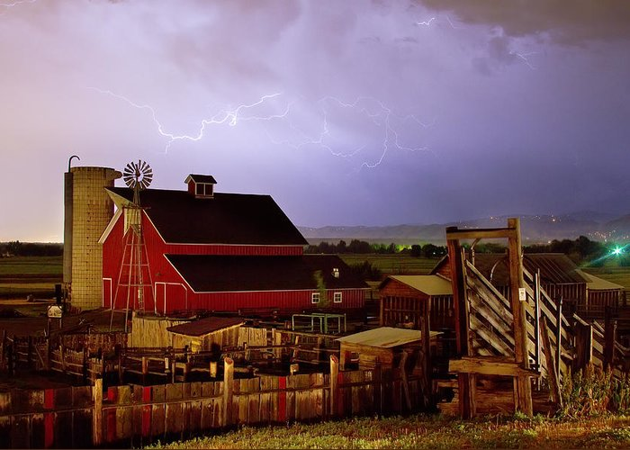 Lightning Greeting Card featuring the photograph Lightning Strikes Over The Farm by James BO Insogna