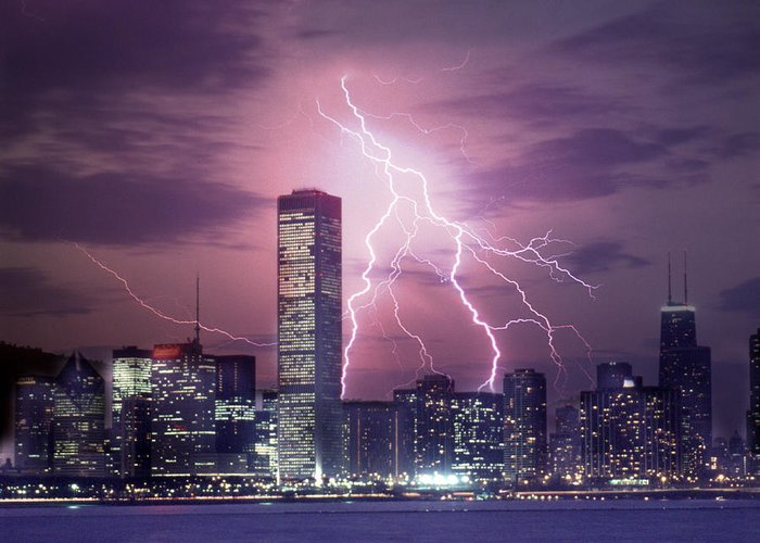 Scenics Greeting Card featuring the photograph Lightning Striking Chicago Skyline by Lyle Leduc