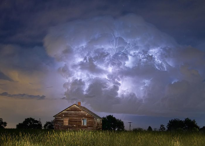 Sky Greeting Card featuring the photograph Lightning Thunderstorm Busting Out by James BO Insogna
