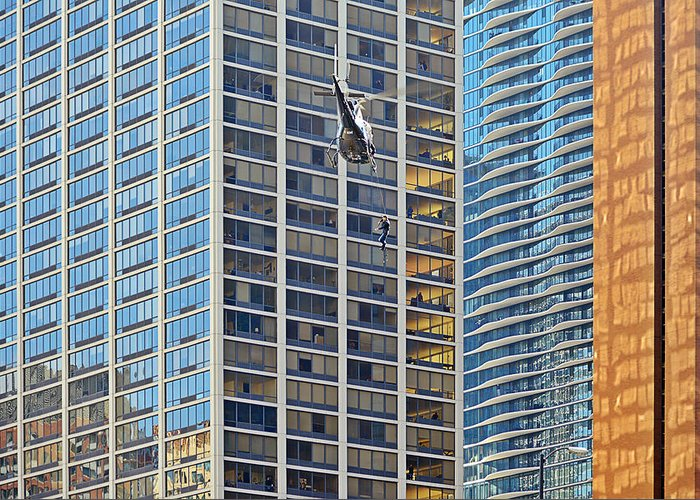 Il Greeting Card featuring the photograph Lights - Camera - Action - Movie Backdrop Chicago by Christine Till